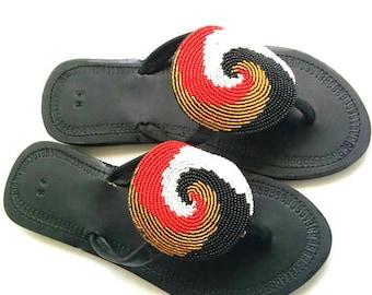 WOMEN SANDALS, Leather Sandals, Masai Sandals, African Sandals, Kenyan Beaded Sandals, Zulu Sandals, Greek Sandals, Bohemian Sandals,