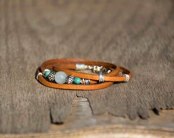 Wrap Triple Leather Bracelet, Turquoise Beaded Bracelet, Wrapped Women Leather Bracelet, Silver Metal Beads, Glass Beads, Cuff Bracelet.