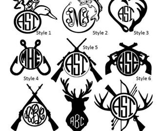 Hunting Fishing Monogram, Vinyl, Decals, woman hunter girl, vinyl signs, vinyl gifts, gifts, men, hunting monograms,mens gift,yeti tumbler