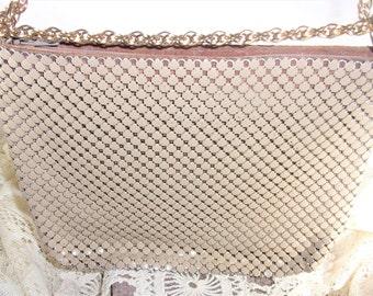 Vintage Whiting and Davis Mesh Purse Handbag,  Double Gold Tone Chain, Goldish Beige Tan Shoulder Bag