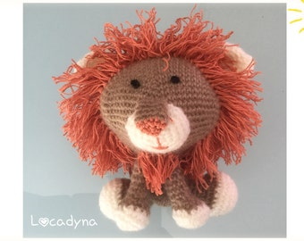 Lion Brown and white with orange mane Amigurumi toy for children to the crochet gift for Leo Amigurumi Child kid room