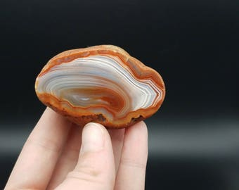 Polished agate, banded agate, agate stone, natural agate, carnelian agate, red carnelian, orange carnelian, rocks and minerals, specimens