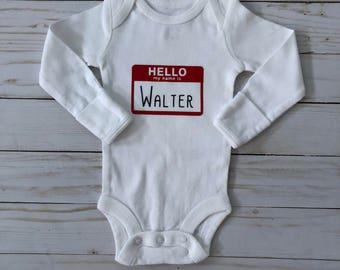 Personalized Onesie, Hello my name is onesie, pregnancy announcement onesie, coming home onesie, baby boy onesie,