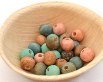 Mix of 25 beads copper pink, blue, mint green and Brown wood 8 mm round