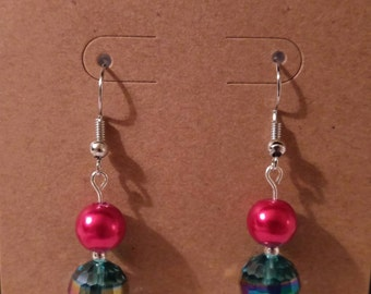 Red glass pearl earrings with accented multi-color faceted glass bead