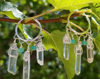 Jade Dreams - Fine Sterling Silver Chandelier Hoop Earrings