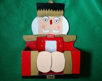 Vintage Retro Kitsch Nutcracker Recipe Box Christmas Card Box Kitchen