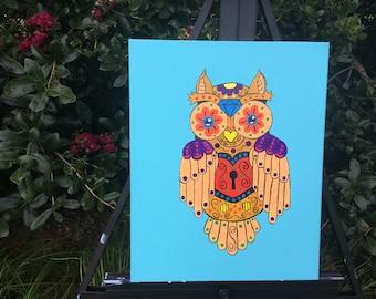 "Owl Painting - 16x20"", Acrylic"