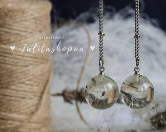Dandelion ball resin earrings - Earrings floral - Bridesmaid earrings - Delicate earrings - Earrings handmade - Dainty earrings