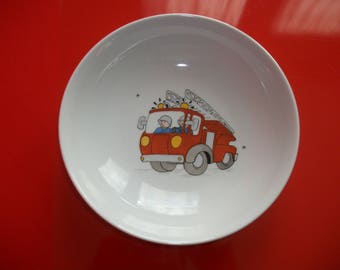 """Porcelain plate from Limoges kids decorated with a """"fire truck!"""""""