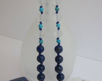 Lapis and Matte Crystal Necklace - The Matte
