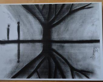 Original Art Print, True Reflection, Perception, Ghosts, Spirts by the lake, Spooky Art, Supernatural