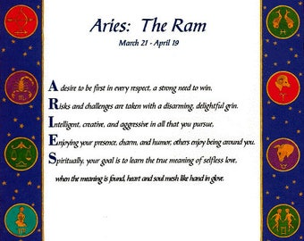 "It's in the Stars ""Aries"" Acrostic Poem Print"
