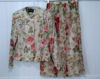 1980s vintage skirt and jacket two piece floral dress for spring by Special Times Patty O'Neil size 12