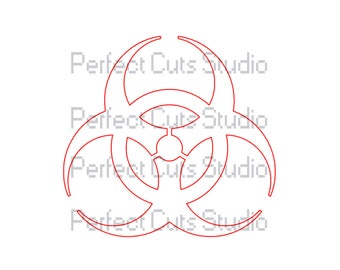 Biohazard Symbol SVG File and Studio 3 Cut File for Cricut Silhouette Brother Logo Logos Decal Decals Bio SVGs Zombie Halloween Cutouts