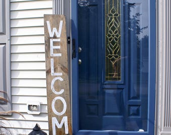 Large Welcome Rustic Wooden Sign  |  Hand Lettered  |  Home Decor  |  Gift Idea  |  Farmhouse Style