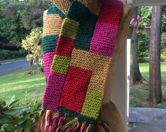 Chunky colorblock hand knit wool scarf