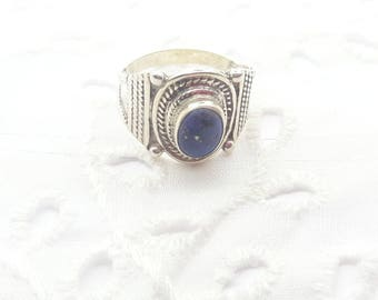 Sterling Silver Blue Lapis Ring/Vintage Handmade Cabochon Lapis Lazuli/September Birthstone/Free Shipping US/Birthday/Christmas/Valentines