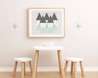 Lamina Montañas en el mar, Lamina decorativa, Cuadros modernos, laminas nordicas, Impresión digital. Wall Art.