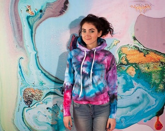 Tie Dye Hoodie Woman Size S Galaxy Psychedelic Ice Dye Watercolor Hoodie / Valentine's Gift for Her / Clothing gift