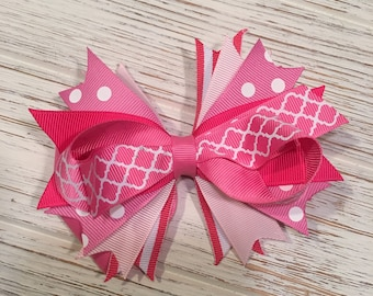 "5"" Pink polka dot hair bow, pink hairbow, pink bow, pink hair clip, hot pink hair bow, light pink hair bow, hot pink hairbow, pink bow"