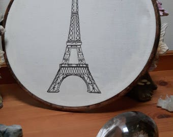 Embroidered Eiffel Tower Wall Hanging
