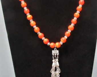 Orange and White glass beaded necklace
