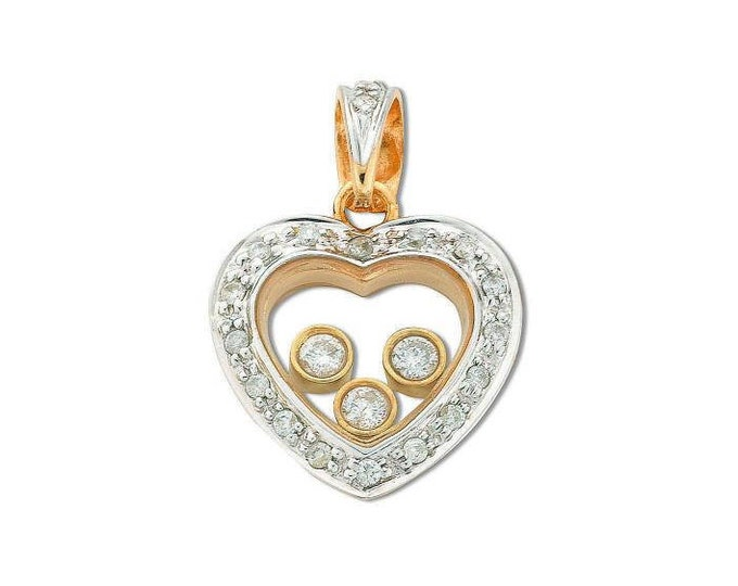 9ct Yellow Gold 0.17ct Floating Diamond Heart Pendant