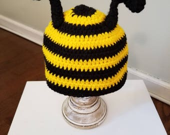 "Bumble Bee Hat ""HoneyBee""/Crochet Bee Hat/Animal Hats/Infant and Toddler Winter Hats/Animal Hats for Kids/READY TO SHIP"