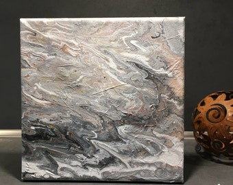 Marble Collection: White & Grey I-small acrylic in white-grey