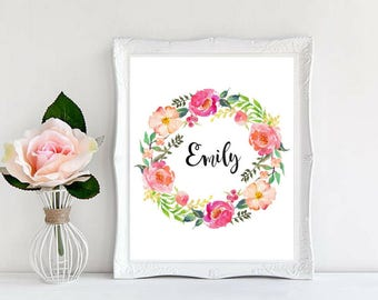 Baby Girl Name Custom Personalized Prints Nursery Decor Baby Shower Gifts Beautiful Watercolor Floral Wreath Printable Family digital Art