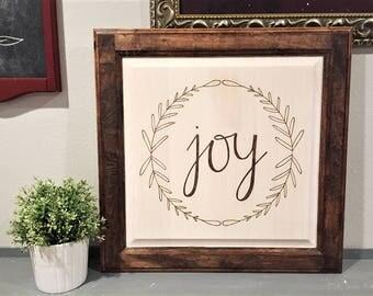 Joy Wood Sign, Farmhouse Sign, Farmhouse Home Decor, Wood Burned Sign, Rustic Sign, Wreath Sign, Calligraphy Sign, Joy Wreath