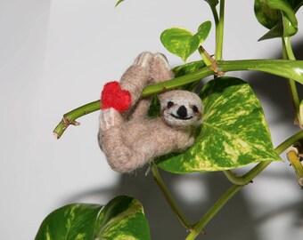 Valentine's Sloth Ornament, Felted Sloth, Three-toed Sloth, Handmade Sloth, Needle Felted Sloth, Hanging Sloth Decoration, Sloth Gift