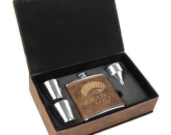6 oz. Rustic/Gold Laserable Leatherette Flask Gift Set