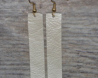 Rustic Shimmer White Leather Strap Earrings Joanna Gaines Inspired Vegan Light weight