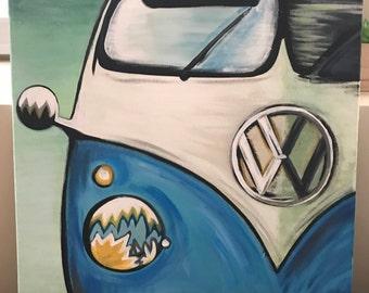 Vintage Volkswagen Bus Painting