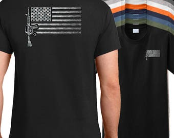 USA AR-15 Rifle Flag Shirt - AR15 shirt, military firearm shirt, American rifle shirt, M4 shirt, AR 15 shirt.