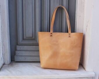 Large leather tote bag - Natural color - Hand stitched - handmade tote - shoulder bag