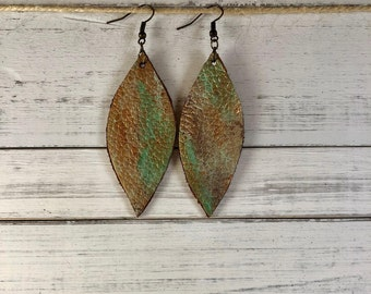 Leather Leaves Earrings/ Hand-painted in old gold/