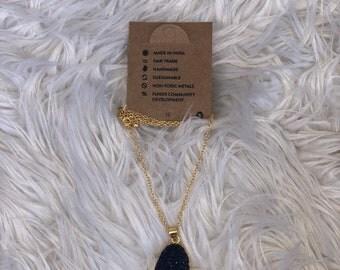 Royal Blue Rock Pendant Necklace