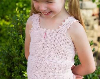 Angel Crochet Lace Top Pattern - Girls Crochet Tank Top Pattern - Kids Classic Crochet Top Pattern Tots Tweens 2T - 12 Girls Top