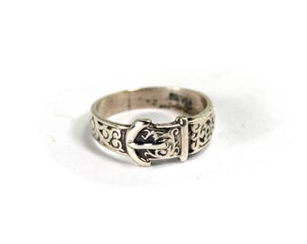 Antique Victorian Sterling Buckle Ring Symbol of Love Loyalty and Strength Size 6.25 Circa 1900