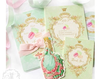 French macaron invitation set, Thank you cards, stickers, RSVP cards, shower tea, birthday invitations, paper doll