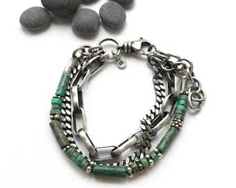 Sterling Silver Turquoise Triple Chain Bracelet Vintage Cuban Chain Navajo Cable Bali Bead Adjustable Size Swivel Clasp