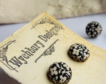 Black and White Flowers - Fabric Covered Button Stud Earrings.