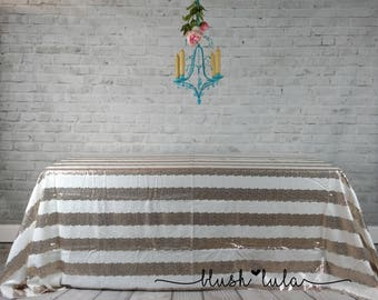 READY TO SHIP!  Sparkle Stripe Sequin Tablecloth for Rectangle 6' Table Wedding Cake Table Head Table Bridal Birthday