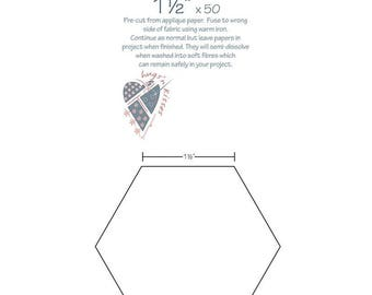 """Hexies - 1.5"""" - 50 fusible iron-on Hexagons by Hugs N Kisses"""