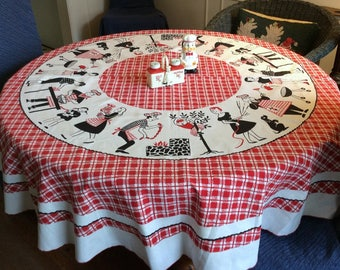 Vintage Round BBQ Tablecloth Mid Century Fun Scenes Around the Grill