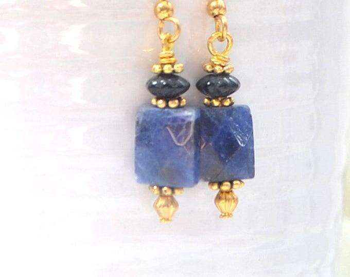 Earrings Dangle Blue Earring Small Dangle Earrings Blue Gold Earring Handmade Jewelry Earrings Leverback
