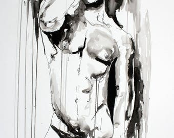 """The Morning Light - Male Nude Figure - 22 x 30"""" ink on paper - original drawing by Brenden Sanborn"""